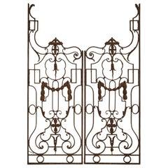 Pair of Antique Wrought Iron Garden Gates from France, circa 1890