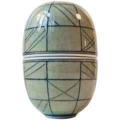 Unique Elliptical Egg Jar by Poul E. Eliasen, Own Studio, 1980s