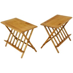 Pair of Faux Burnt Bamboo X-Base Rectangular Side End Tables with Magazine Rack