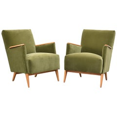 Pair of Deco Velvet Lounge Chairs with Wooden Armrests