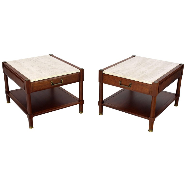 Pair of Travertine Tops One Drawer Oiled Walnut End Side Tables