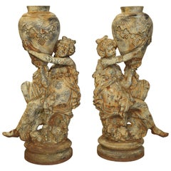Beautiful Pair of Antique Cast Iron Figural Garden Urns
