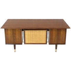 Caned Back Overhanging Floating Banded Top Large Brass Hardware Executive Desk