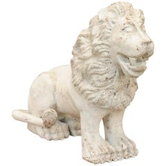 Italian Carved and Painted Wooden Sculpture of a Lion from the Early 1800s