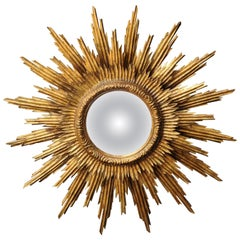 French 1960s Giltwood Three-Layered Sunburst Mirror with Convex Mirror Plate