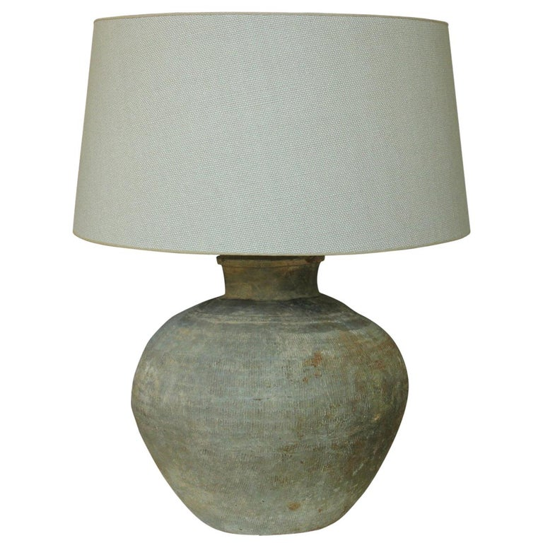 Chinese Han Dynasty Unglazed Belly Jar as Table Lamp