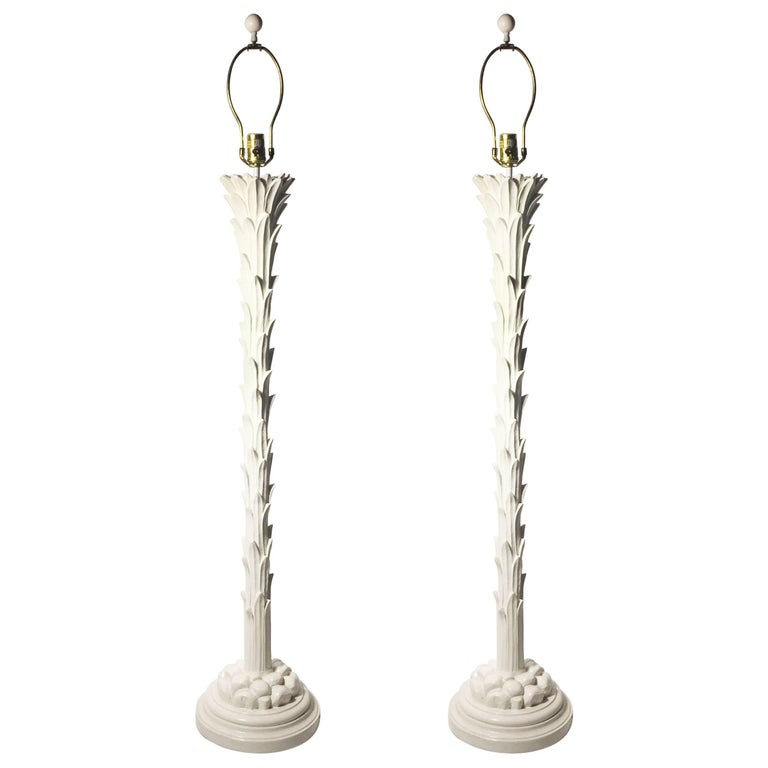 Pair Of Vintage Plaster Palm Floor Lamps By Chapman For