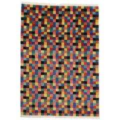 Vintage Modern Area Rug with Cubism Style