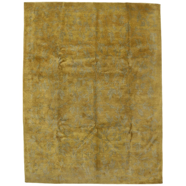 Vintage Gold Tibetan Area Rug With Modern Traditional Style For