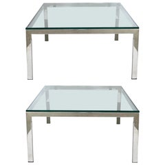 Contemporary Italian Stainless Steel and Glass Cube Coffee Tables