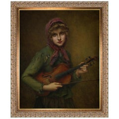 The Young Violin Player, after Victorian Oil Painting by Francois Martin Kavel