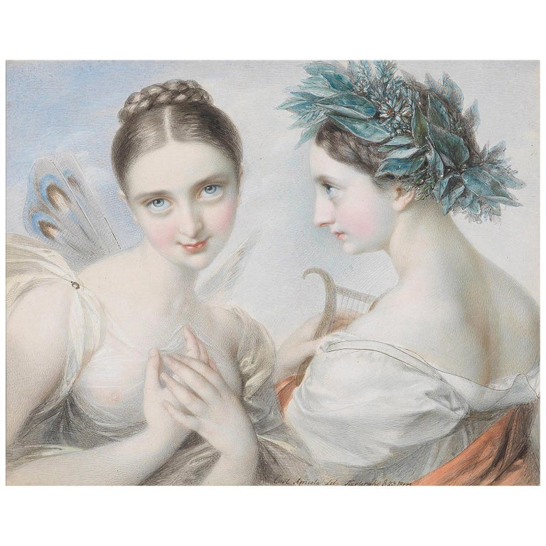 Two Muses, after Neoclassical Watercolor by Carl Agricola