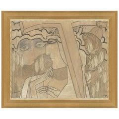 Desire and Satisfaction, After Dutch Art Deco Pastel by Jan Toorop