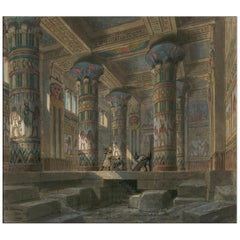 Opera Aida Set Design, after Belle Époque Drawing by Philippe Chaperon