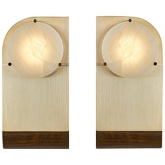Polifemo Couple of Sculptural Sconces or Wall Lights Brushed Brass and Alabaster