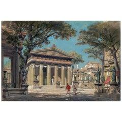Set Design, Opera Sapho, after Belle Époque Watercolor by Philippe Chaperon