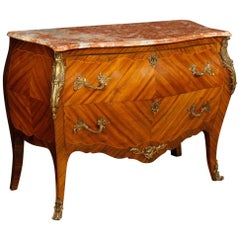 French Dresser in Inlaid Wood with Marble-Top in Louis XV Style 20th Century