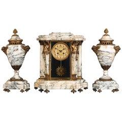 19th Century, French Napoleon 111 Three-Piece Marble Clock Set