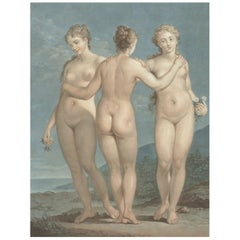Three Graces, After Neoclassical Pastel by Jean-François Janinet