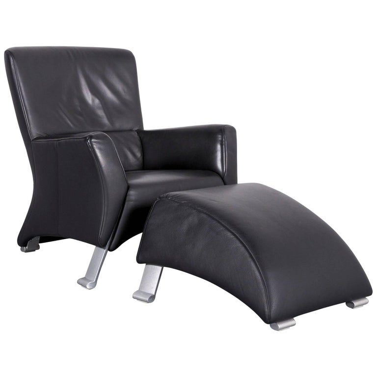 Rolf Benz 322 Leather Armchair Set Black One-Seater with Metal Feet ...