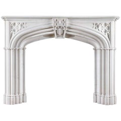 White Statuary Marble Gothic Revival Chimneypiece