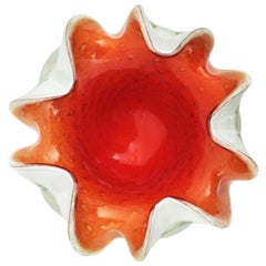 Gold Flecked Bullicante Orange Red White Sommerso Murano Art Glass Flower Bowl