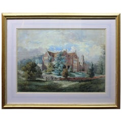 Fine Watercolor of a Country Mansion in Gilt Frame