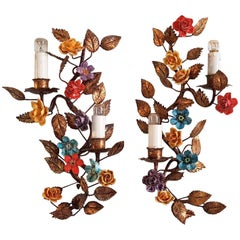 Pair of Italian Tole and Flower Wall Sconces, 1950s
