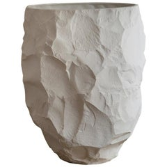 Modern Ceramic Oversized Vase with Open Top in White, Big Vase 1