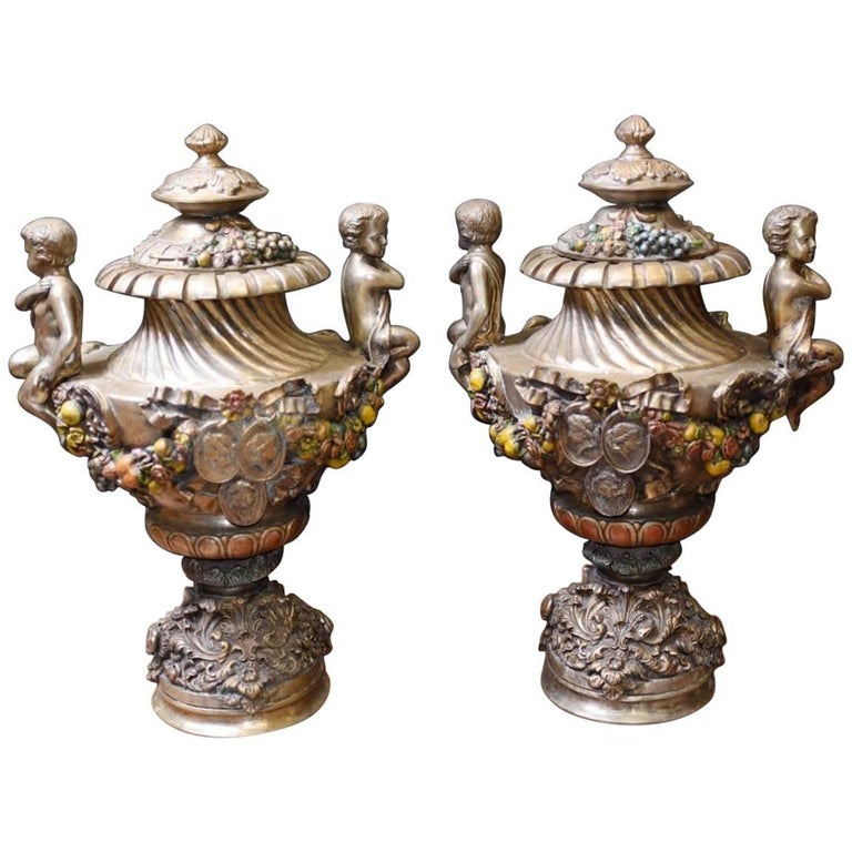 20th Century Pair of Silvered Bronze Urns Dating to 1930s