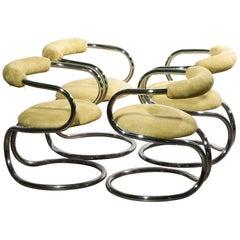 Set Of 4 Chrome Tubular With Alcantara Upholstered Tecnosalotto Dining Chairs