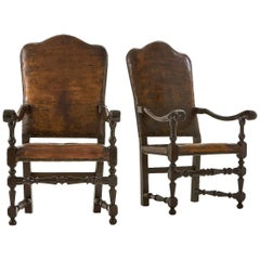 18th Century Italian Leather Armchairs