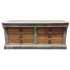 French Wood Store Counter with Six Drawers from Early 20th Century