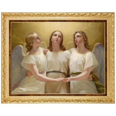 Three Guardian Angels, after Oil Painting by Austrian Empire Artist Franz Kadlik