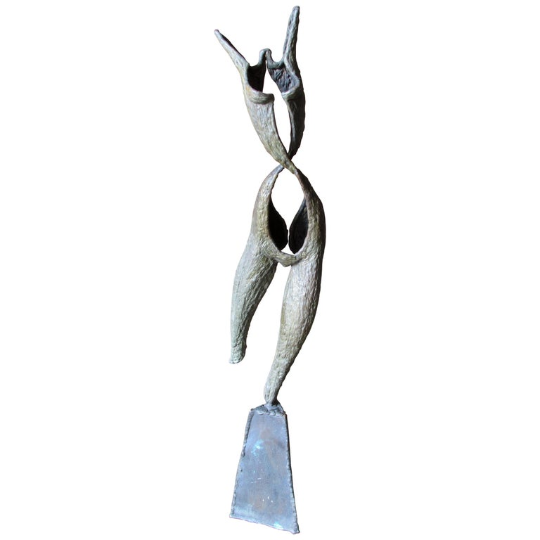 Brutalist Abstract Bronze Nude Sculpture