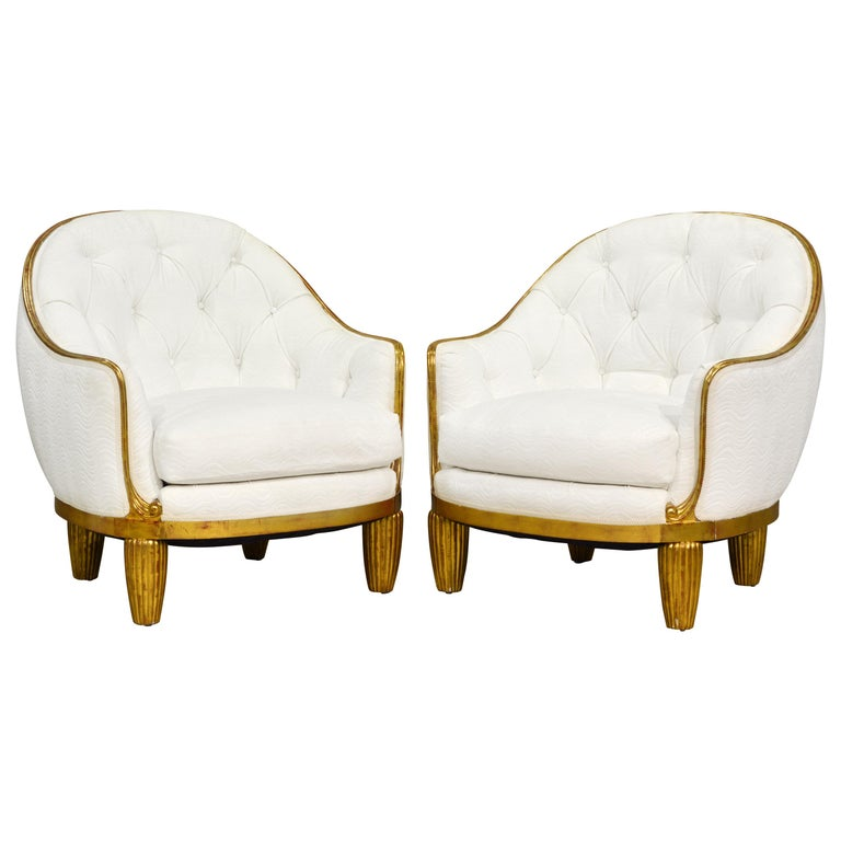 Exceptional Pair of French Art Deco Lounge Chairs Manner of Maurice Dufrene