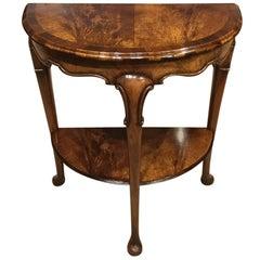 Edwardian Period Figured Walnut Queen Anne Style Side Table