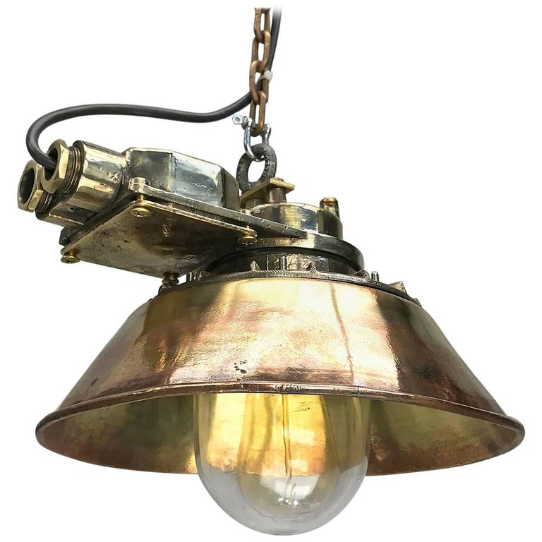 1950s German Industrial Cast Brass Pendant Light Conical Shade and Acrylic Dome