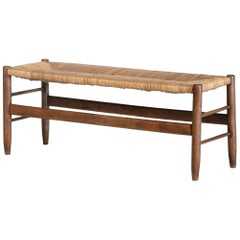 French Bench, Woven Rush Seat, 1950