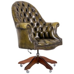 Chesterfield Leather Armchair Green One-Seat