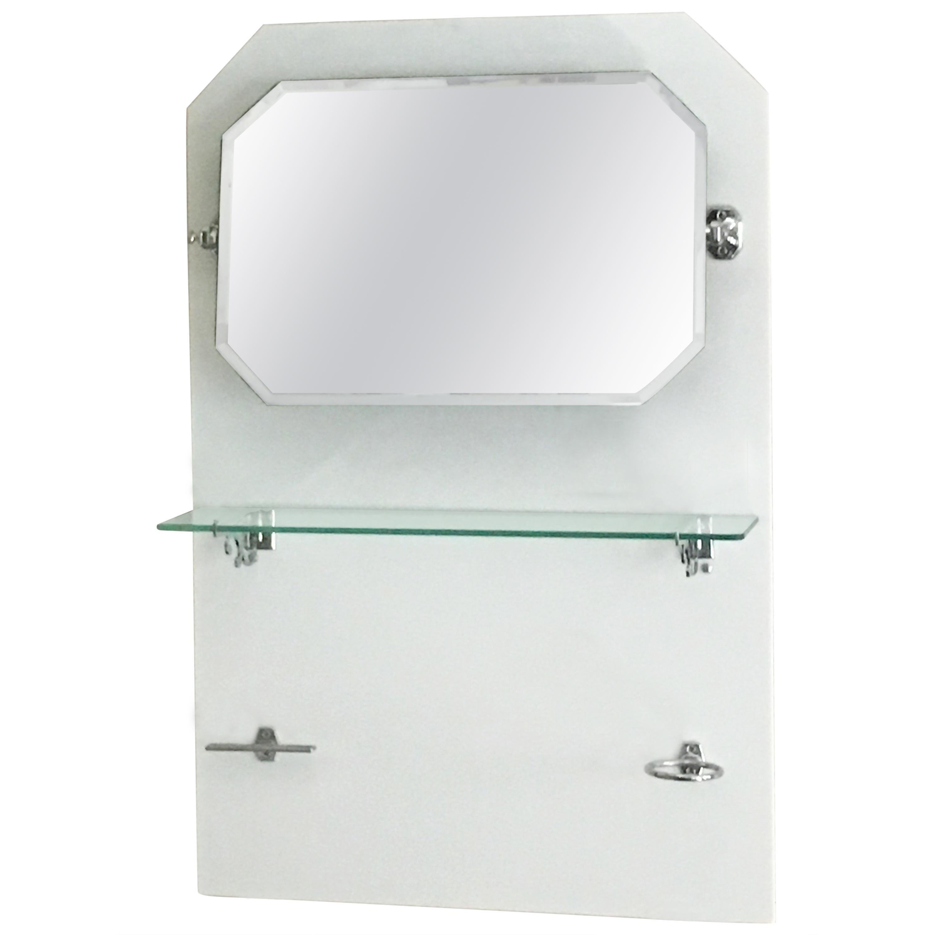 French Bathroom Adjustable Mirror With Shelf And Accessories From 1920s For  Sale