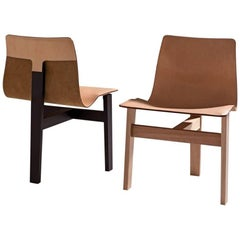 Tre 3 Dining Chair in Slung Leather & Natural or Dark Wood by Angelo Mangiarotti