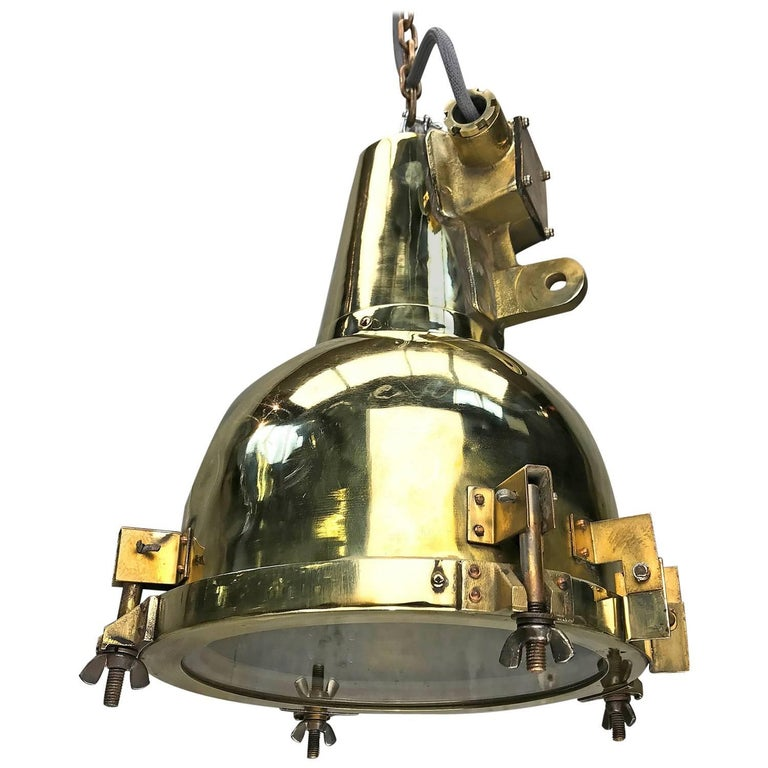 1970s Japanese Brass Marine Nautical Searchlight Pendant Lamp, Edison E26/E27 For Sale
