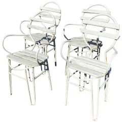 Italian Midcentury Garden Chairs in Iron and Wood from 1960s