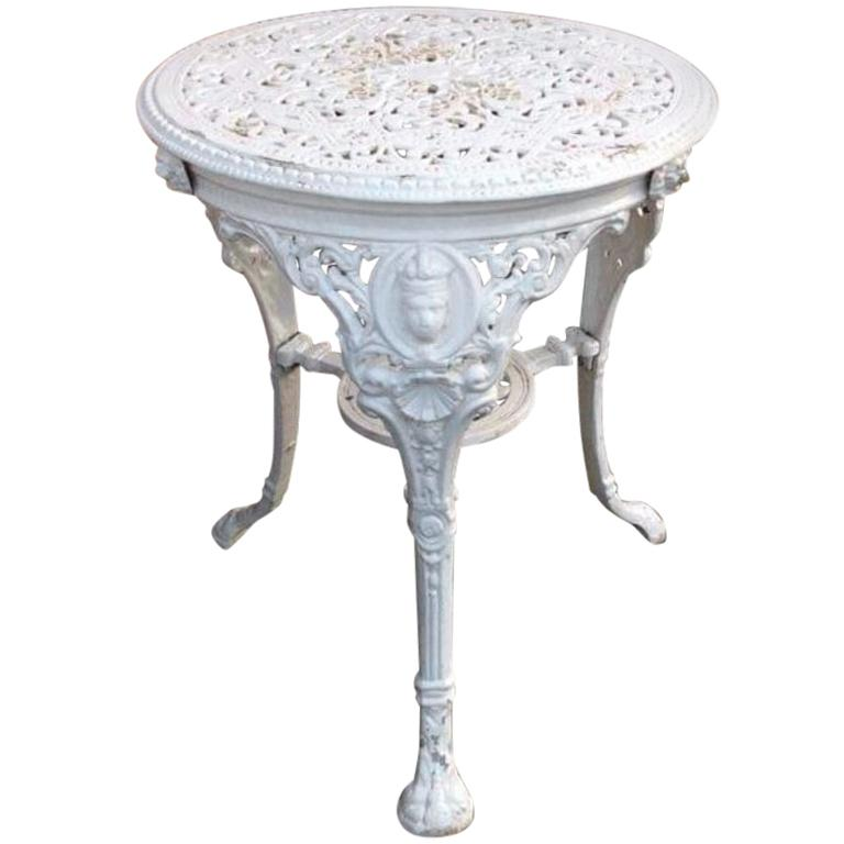 French Victorian Iron Garden Side Table White Lacquered from 1890s
