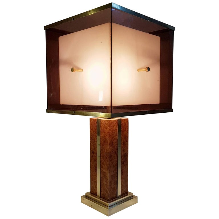 Burl and Brass Romeo Rega Table Lamp, Italy