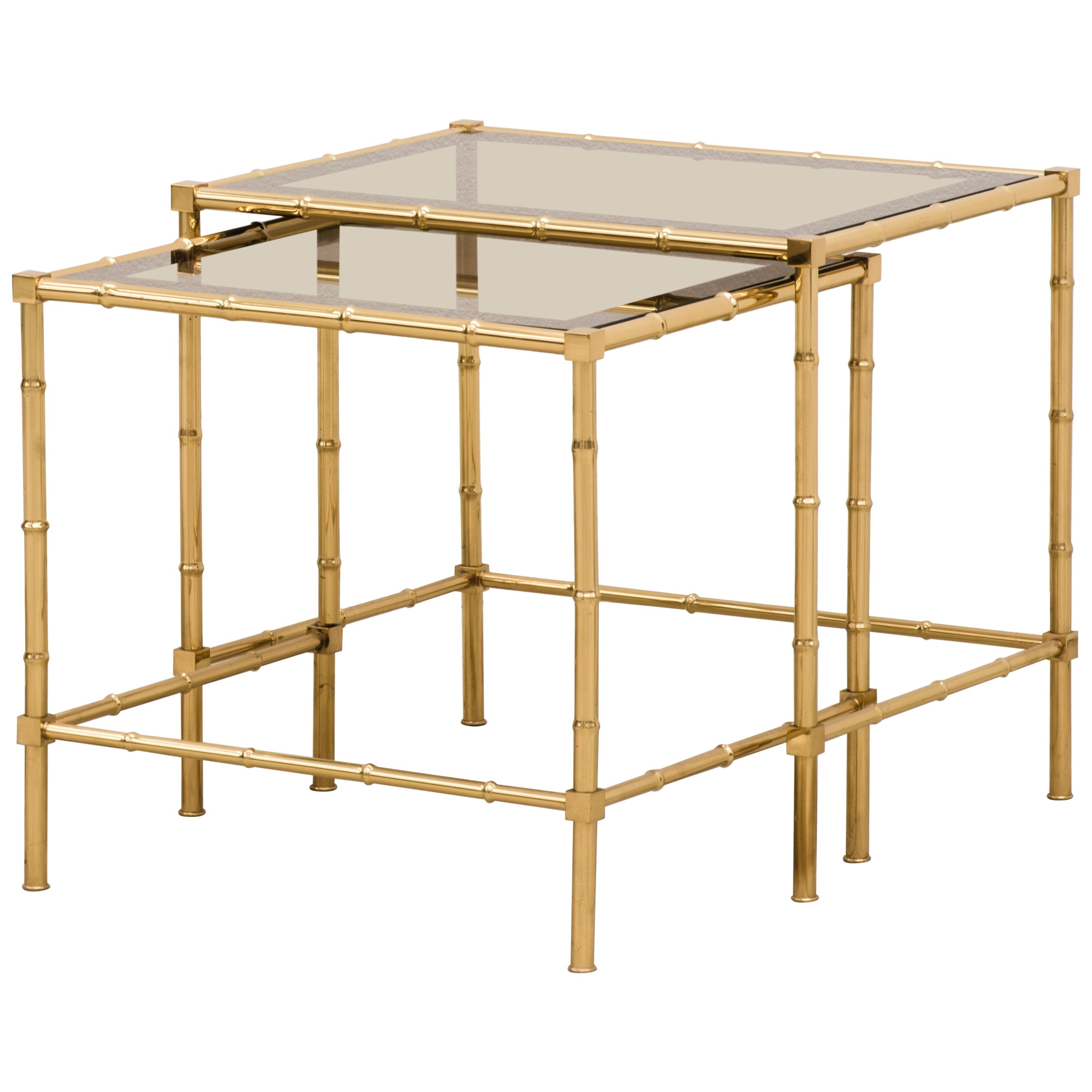 1980s Italian Brass and Mirror Glass Faux Bamboo Hollywood Regency Coffee Tables