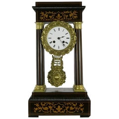 Late 19th Century Wooden Portico Clock