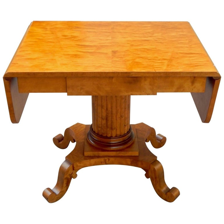 Swedish Biedermeier Revival Drop Leaf Table in Golden Birch by Johan Ekman