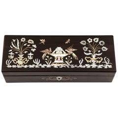 Coromandel Mother-of-Pearl Abalone Brass Velvet Glove Box